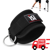 Ankle Strap D-ring Leg Pulley Weight Lifting Gym Cable Attach Training Fitness Black Single