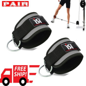 D Straps Weight Lifting Gym Cable Attachment Ankle Cuff Pulley Exercise Ankle Strpas Grey PAIR
