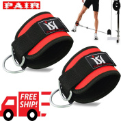 Weight Lifting Ankle Cuff D Ring Cable Attachment Exercise Gym Training Workout Straps PAIR