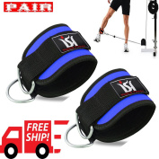D-Straps Weight Lifting Gym Cable Exercise Attachment Ankle Straps Cuff Pulley PAIR