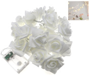 20 LED White Rose Chain Flower Indoor Seasonal Decor Fairy Lights Wedding Party