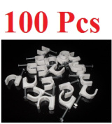 Tiny Dog Pack Of 100 Rg59/Rg6 10Mm Circle Cable Clips W/ Steel Nail For Cctv & Satellite
