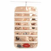 IDecHome Gold Zipper Hanging Jewlery Organiser, Dual Sided Pockets Hooks Non-Woven Storage Bag