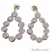 24k Gold Plated Gemstone Bezel Component Earring Exclusively by GemMartUSA (Amethyst
