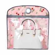 IDecHome Nylon PVC Hanging Handbag Organiser, Closet Storage Purse Holder Pocketbook, Cherries Flowers