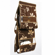 IDecHome Nonwoven Hanging Handbag Organiser, 5 Pockets Closet Storage Purse Rack File, Coffee Flowers