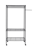 Finnhomy Heavy Duty Wire Shelving Garment Rack with Wheels Rolling Clothes Rack with Shelves and Swing Arm, Black