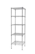Finnhomy 5 Shelves Adjustable Steel Wire Unit, Metal Heavy Duty Storage Racks, Thicken Steel Tube Chrome