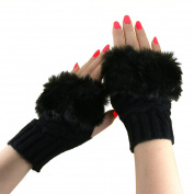 Women Ladies Winter Warm Faux Fur Knitted Fingerless Gloves Mitten Opera/Wrist/Short Wool Knit Gloves Hand Warmer Writing Typing Reading Driving Gloves