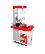 Smoby Bon Appetit Electronic Roleplay Kitchen with 23 Accessories & Cooking Sounds, 100cm , Red
