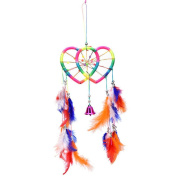 Dream Catcher, BESTIM INCUK Handmade Feather Dream Catcher with Double Heart Net Bells Beads for Wall Car Hanging Ornament Home Decoration