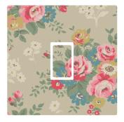 Vintage Grey Floral Vinyl Light Switch Cover Sticker
