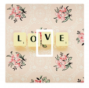 Vintage Floral Love Scrabble Tiles Vinyl Light Switch Cover Sticker