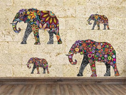 Yanqiao Modern Design Colourful Pattern Elephant Wall Sticker for Livingroom Kids'Room Removable Vinyl Home DIY Decorate