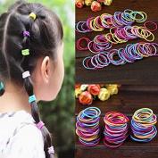 Caxmtu 100Pcs Elastic Hair Ropes Colourful Hair Ties Ponytail Holder Hair bands For Baby Girls Kids