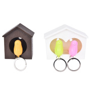 Buytra Cute Birdhouse Nest with Sparrow Bird Whistle Key Ring Holder Wall Mounted Key Hook Keychain