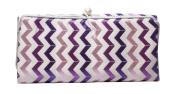 Jewellery Roll Chevron Cheque Pattern - Purple, Pink, & White