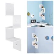 Yescom 3 Tiers Wall Mount Corner Shelf Wood Storage Organiser w/ Gradienter Home White