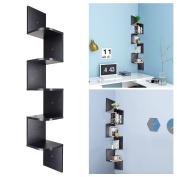 Yescom 5 Tiers Wall Mount Corner Shelf Wood Storage Organiser w/ Gradienter Home Black