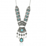 Diamondo Tibetan Silver Blue Turquoise Chain Crystal Pendant Necklace