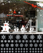 57 WHITE REUSABLE CHRISTMAS SNOWFLAKES WINDOW STICKERS SELF CLINGS DECORATIONS