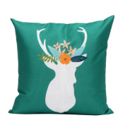 GBSELL Pillow Cover Pretty Christmas Elk Deer Pillow Case Sofa Throw Cushion Cover Party Home Decor