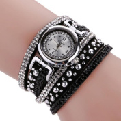 Malltop Vintage Bling Crystal Braided Winding Wrap Chain Bracelet Dial Quartz Wrist Analogue Watch Pretty Gift for Teenager
