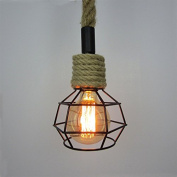 Industrial Retro Country Hemp Rope Ceiling Chandelier Pendant Edison Lamp Light