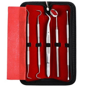 ElleSye Dental Hygiene Kit Dental Care Kit Dental Tools Set 5 pieces, for Home Oral Care Personal Use with Stainless Steel Dental Pick, Dental Scaler, Anti-fog Mouth Mirror, Tartar Remover, Tweezers and Leather Storage Case