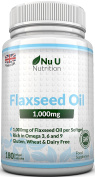 Flaxseed Oil 1000mg Cold Pressed - 180 Softgel Capsules (3 Month Supply) - Rich in Omega 3, 6 & 9 by Nu U Nutrition