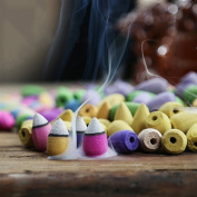Caxmtu Backflow Incense Cones Natural Smoke Indoor Aromatherapy Rose Lavender Jasmine Mixed Flavour