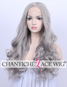 Chantiche Best Wavy Synthetic Lace Front Wigs for Girls Christmas Natural Looking Light Grey Hair Wig uk 60cm