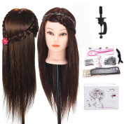 TopDirect 60cm 40% Real Hair Mannequin Head Hair Cosmetology Mannequin Manikin Training Head Model