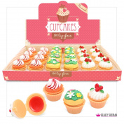 24 x Cupcake Lip Gloss Lip Balm Cup Cake Box Chocolate Cherry Mint Flavours UK