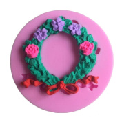 MOLLYSKY Christmas Theme Silicone Cake Mould Wreath Decoeating DIY Tools For Cake Cupcake,Pink