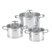Haussmann Heritage® 6pcs Stainless Steel Stockpot with Glass Lid - Suitable for all Heat Sources including Induction - hm0621