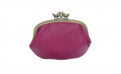 Mala Leather Coin Purse With Bird Clip Fastener 4138_11 Fuchsia