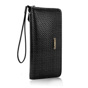 Genuine Leather Waterproof Long Wallet Large Capacity Purse with Zipper Coin Money Bank Card Business Card,Black