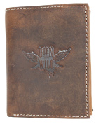 Natural strong genuine leather wallet The wild force with a wing