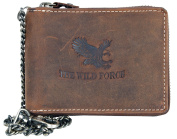 Genuine leather wallet metal zip-around with metal chain with an eagle