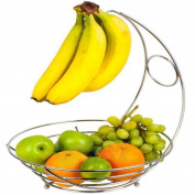 VALINK Fancy Metal Chrome Banana Hanger Basket Fruits Apple Banana Orange Holder Basket Fruit Storage Hook Kitchen Organiser - Silver, 24 x 24 x 44 cm