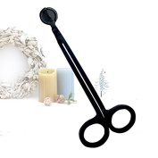 lzn 18cm Stainless Steel Candle Wick Trimmer Scissor Cutter Snuffers Black