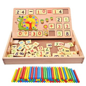 100PCS Wooden Number Sticks + 70PCS Bricks Blocks Mathematics Material Educational Toy + Snail Teacking Clock Time Learning for Kid Child Maths Early Education Learning