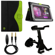 Soho Fold to Stand Nylon Portfolio Case for Apple iPad Air 25cm Tablets + Windshield Mount + Auxiliary Cable