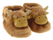 Cute Brown Scottish Highland Cow Toddler Slipper Boots Bootees with Anti Slip Soles