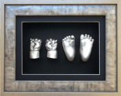 New 3D Baby Plaster Casting Kit Boy Girl Twins Siblings / Urban Pewter Silver Frame / Metallic Silver paint - by BabyRice