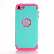 iPod Touch 6th Generation Case,Lantier 3 Layers Verge Hybrid Soft Silicone Hard Plastic TUFF Triple Quakeproof Drop Resistance Protective Case Cover with Stylus Mint Green/Hot Pink