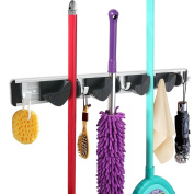 FB FunkyBuys® Aluminium Broom Mop Holder Organiser Garage Storage Hooks Wall Mounted 4 Position 5 Hooks for Shelving Ideas