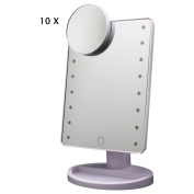 MILKIRAY 16 LED Touch Screen Makeup Mirror Lighted Make-up Cosmetic Mirror 180 Free Rotation Movable Vanity Tabletop Countertop Bathroom Mirror