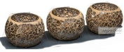 Set of 3 Bronze Mosaic Candle Holders